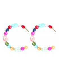 Fashion Color System (blue) Alloy Pearl C-shaped Earrings