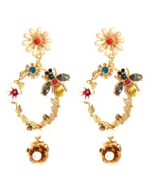 Fashion Gold Alloy Rhinestone Pearl Flower Earrings