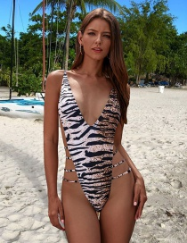 Fashion Leopard Lace-up One-piece Swimsuit