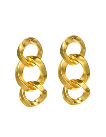 Fashion Gold Alloy Chain Stud Earrings