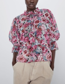 Fashion Red Flower Print Top