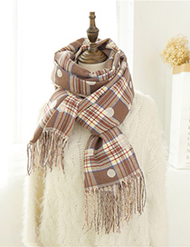 Fashion Khaki Dual-use Cashmere Plaid Scarf
