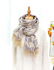 Fashion Beige Thousands Of Birds Plaid Imitation Cashmere Scarf Shawl