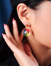 Fashion Color S925 Silver Pin Studded Flower Earrings