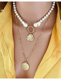 Fashion Gold Empress Coin Beaded Shaped Pearl Multilayer Necklace