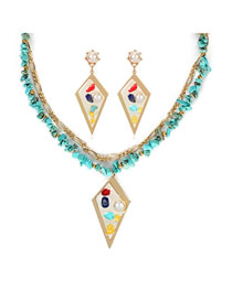 Fashion Turquoise Double Turquoise Necklace Earring Set