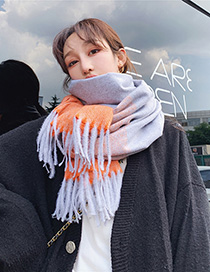 Fashion Orange Gradient Color Imitation Cashmere Vertical Stripes Fringed Scarf Shawl