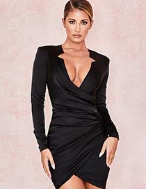 Fashion Black Long Sleeve V-neck Stitching Dress