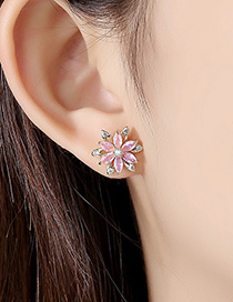 Fashion 18k Copper Inlaid Zirconium Petals Earrings