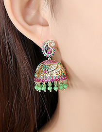 Fashion 18k Wind Chime Pearl Copper Zirconium Earrings