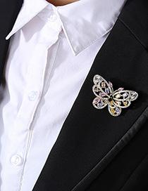 Broche Mariposa De Circonio Con Incrustaciones De Cobre