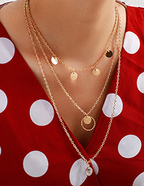 Fashion Gold Water Wafer Multi-layer Necklace