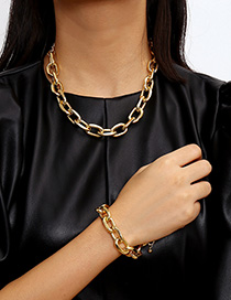 Fashion Gold Geometric Cross Chain Single Layer Necklace Set