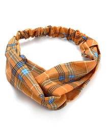 Fashion Orange Plaid Cross Elasticated Chiffon Hair Band