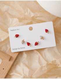 Fashion Strawberry 925 Silver Needle Cartoon Earrings Set Of Six