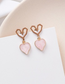 Fashion Pink 925 Silver Needle Geometric Love Earrings