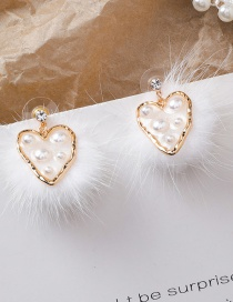 Fashion Gold 925 Silver Needle Love Hair Ball Transparent Irregular Earrings