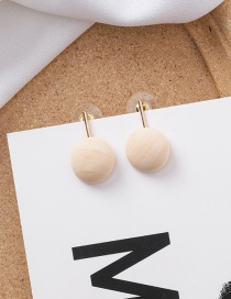 Fashion Beige Round Geometric Wood Earrings