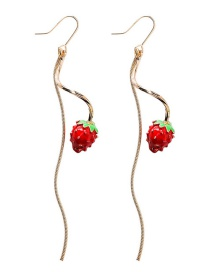Fashion Gold Wavy Lines Fringed Small Strawberry Earrings