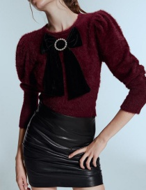 Fashion Red Wine Bow Faux Fur Sweater