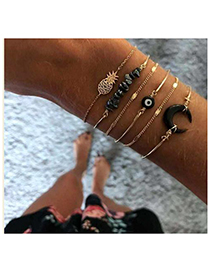Fashion Black Alloy Resin Eye Bracelet Set