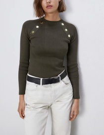 Fashion Armygreen Button Ribbed Sweater
