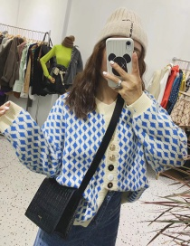 Fashion Blue Button Sweater Cardigan