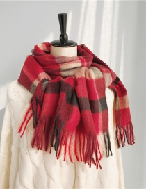 Fashion Pulled Plaid Red Cashmere Plaid Scarf