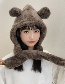 Fashion Plush Bear Ear Hood Cap Mocha Bear Ear Plush Head Cap