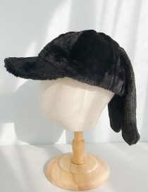 Fashion Rabbit Ears Black Plush Baseball Cap