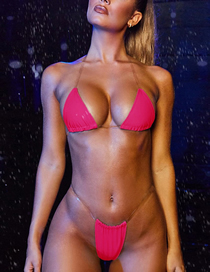 Fashion Rose Red Offset With Chest Pad Transparent Strap Bikini