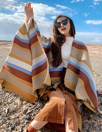 Fashion White Coffee Stripe Cashmere Striped Slit Shawl
