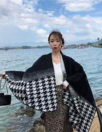 Fashion Gradient Big Houndstooth Gradient Houndstooth Split Cross Cashmere Shawl Cloak