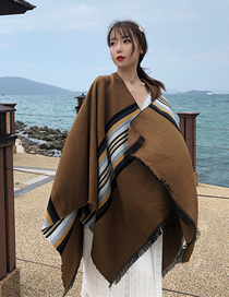 Fashion Brown Stripes Striped Scarf Shawl