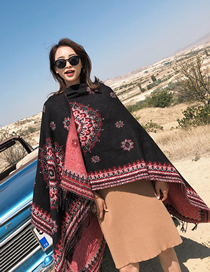 Fashion Black Red Knitted Cashmere Split Shawl