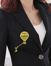 Fashion Gold Balloon Fringed Chain Stereo Bow Brooch