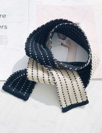 Fashion Striped Knit Small Scarf Black Knitted Wool Striped Scarf