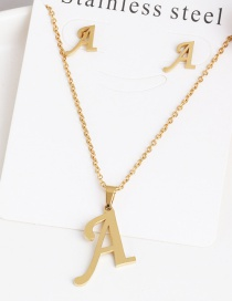 Fashion A Gold Stainless Steel Letter Necklace Earrings Two-piece