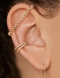 Fashion Gold Alloy Pearl Drill Spacer Ear Clip