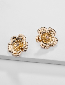 Fashion Gold Alloy Two-layer Flower Stereo Stud Earring