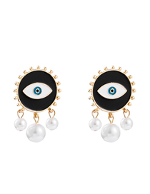 Fashion Black Gold-plated Eye Pearl Earrings