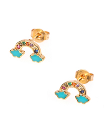 Fashion Lake Blue Diamond Rainbow Stud Earrings