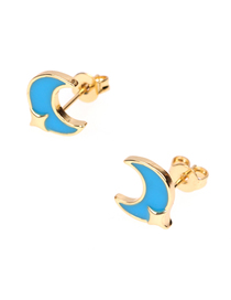 Fashion Lake Blue Drip Oil Stars Moon C-shaped Earrings