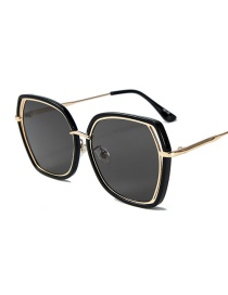 Fashion Black Frame Black Gray Irregular Large Frame Hollow Frame Sunglasses