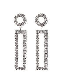 Fashion Silver Alloy Studded Rectangular Stud Earrings