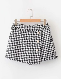 Fashion Black And White Houndstooth Edging Irregular Skirt