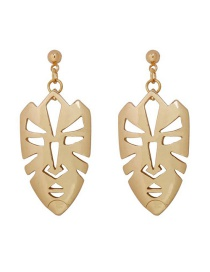 Fashion Gold Alloy Geometric Mask Earrings