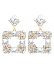 Fashion White Alloy Hollow Square Diamond Earrings