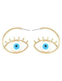Fashion White Alloy C-shaped Eye Earrings