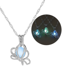 Fashion Silver Butterfly Hollow Night Bead Necklace